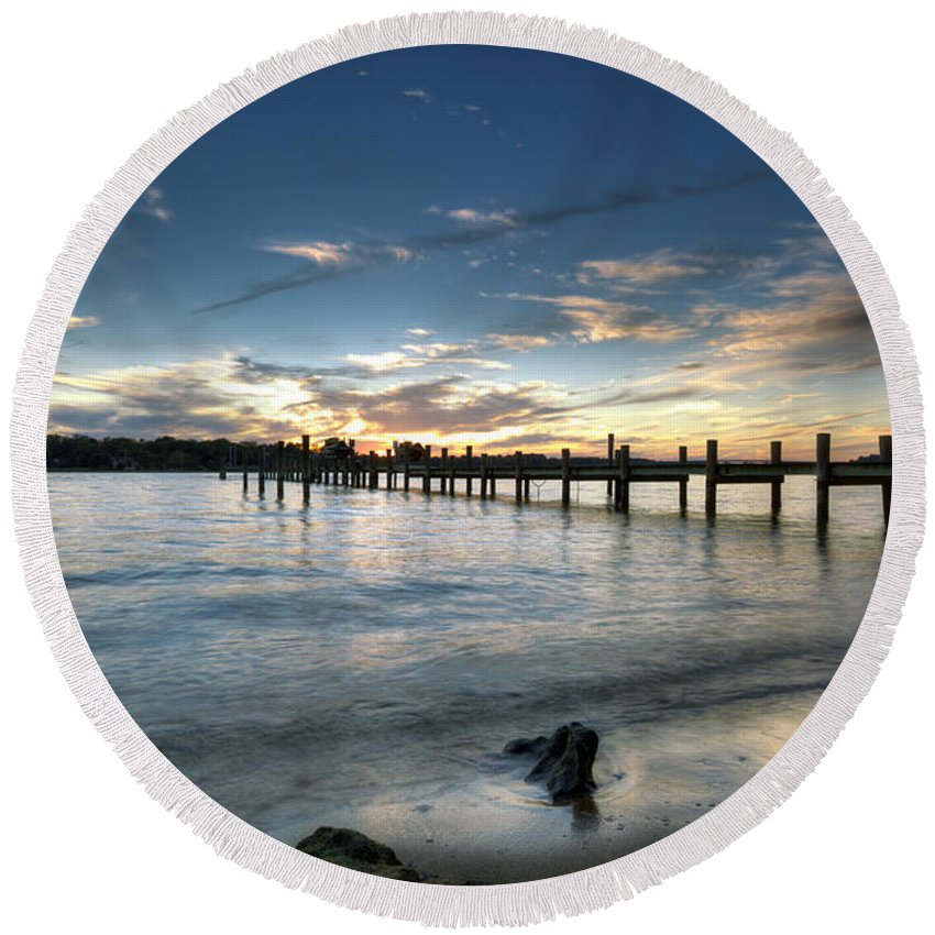 Severn River Round Beach Towel featuring the photograph Down By The River by Edward Kreis