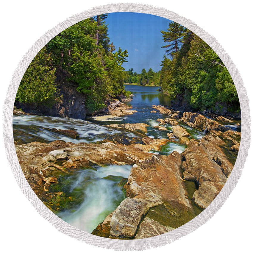 Bedrock Round Beach Towel featuring the photograph Down The Bonnechere by Phill Doherty
