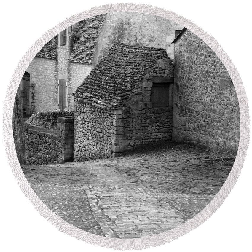 France Round Beach Towel featuring the photograph Down The Lane Beynac France IIi by Greg Matchick