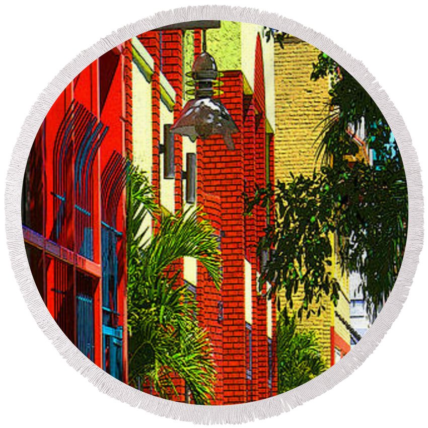 Red Round Beach Towel featuring the digital art Downtown Ft Myers by Peggy Starks