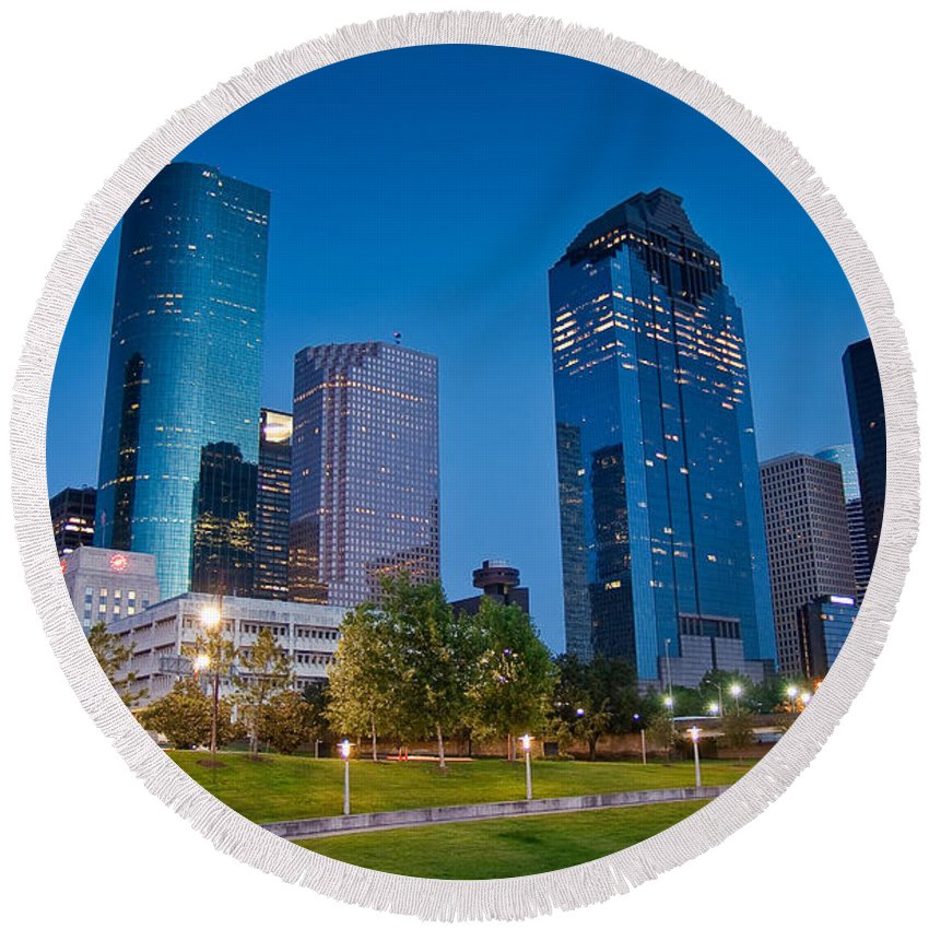 Downtown Round Beach Towel featuring the photograph Downtown Houston by Olivier Steiner