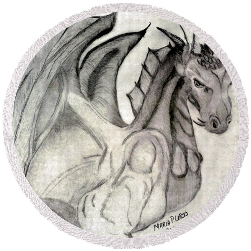 Dragonheart Round Beach Towel featuring the drawing Dragonheart - Bw by Maria Urso