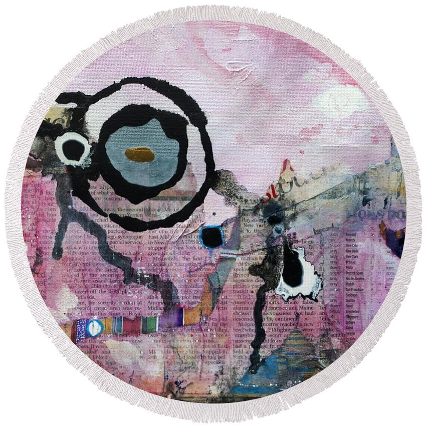 Abstract Round Beach Towel featuring the painting Dream Painting by Jay Taylor