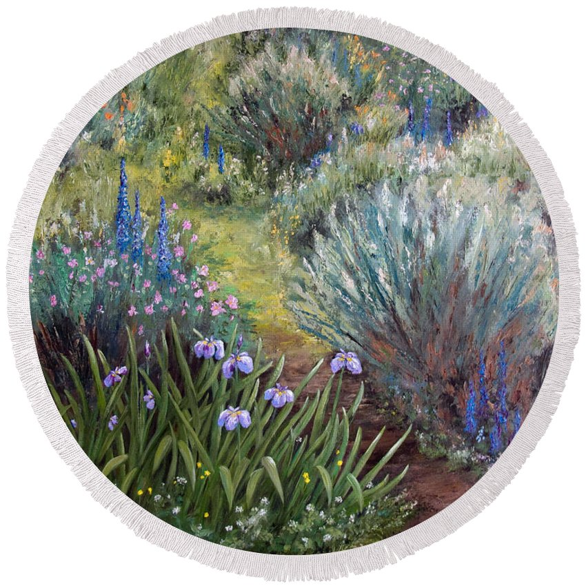 Garden Round Beach Towel featuring the painting Dreams Of Summer by Dee Carpenter