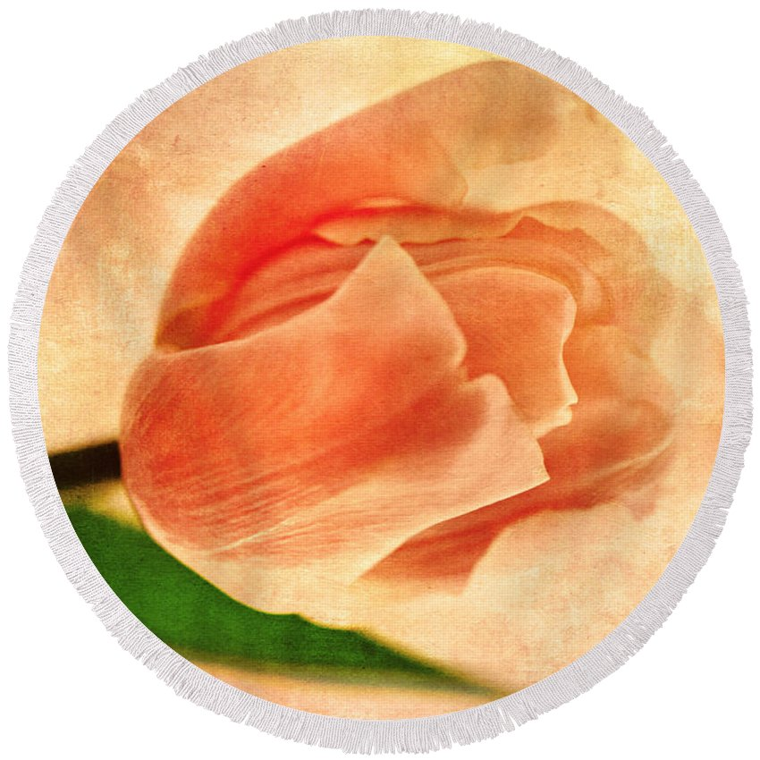 Vintage Round Beach Towel featuring the mixed media Dreamy Vintage Tulip by Georgiana Romanovna
