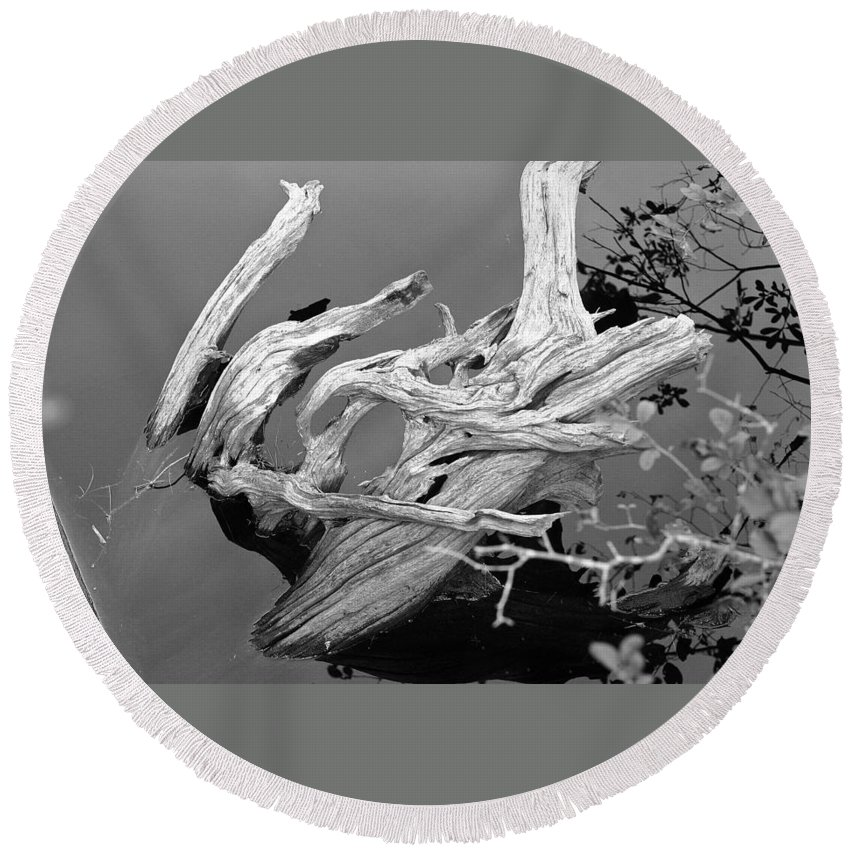 Pond Round Beach Towel featuring the photograph Driftwood by David Rucker