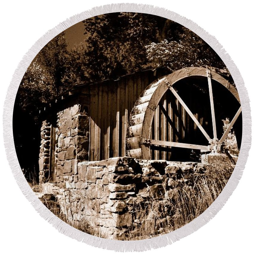 Round Beach Towel featuring the photograph Dry Mill by Mark Valentine
