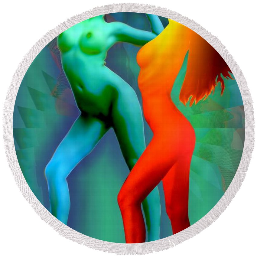 Dancing. Dance Round Beach Towel featuring the digital art Dual Dancers 2011 by Helmut Rottler