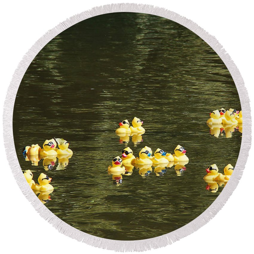 Ducks Round Beach Towel featuring the photograph Duck Derby Ducks by Mick Anderson