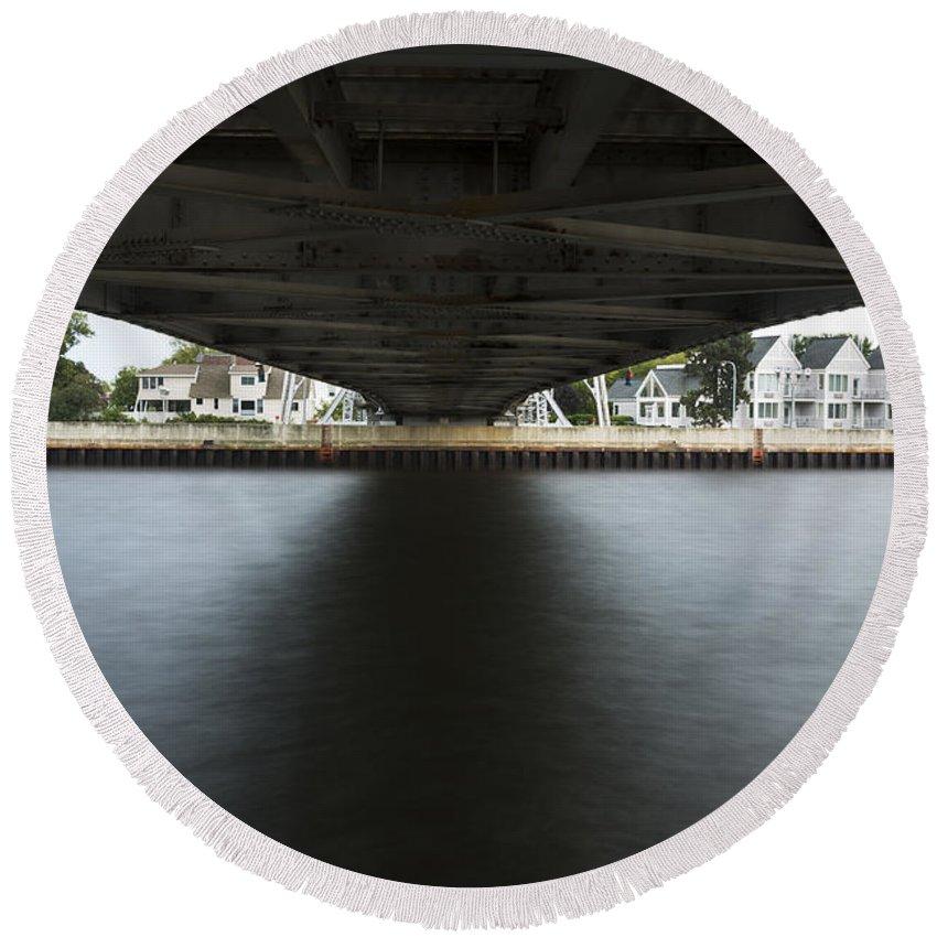 Duluth Round Beach Towel featuring the photograph Duluth Lift Bridge Under 2 by John Brueske