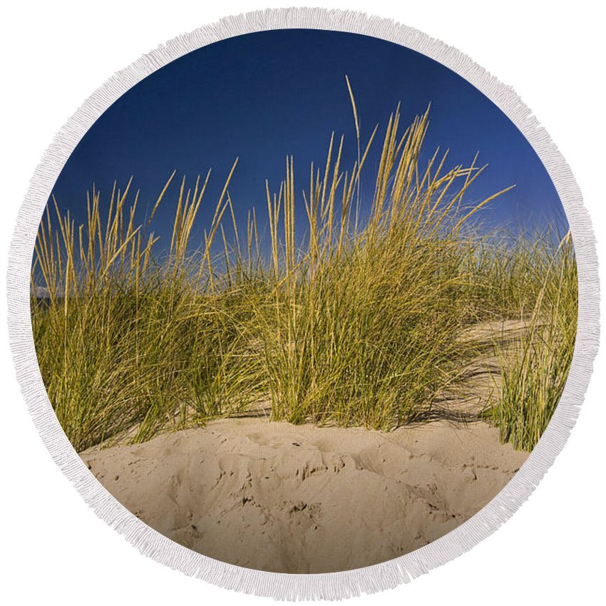 Art Round Beach Towel featuring the photograph Dune And Beach Grass On Lake Michigan No.969 by Randall Nyhof
