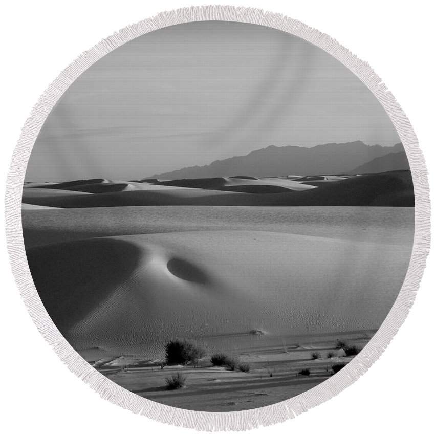 New Mexico Round Beach Towel featuring the photograph Dunes 5 by Sean Wray