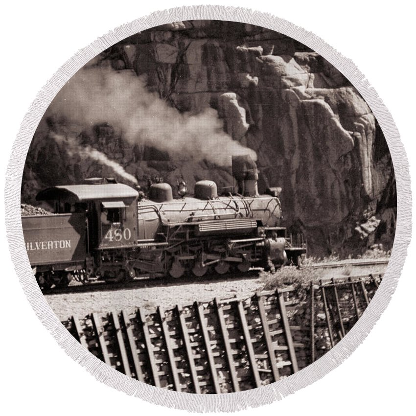 Train Round Beach Towel featuring the photograph Durango And Silverton Steam Train by Darleen Stry
