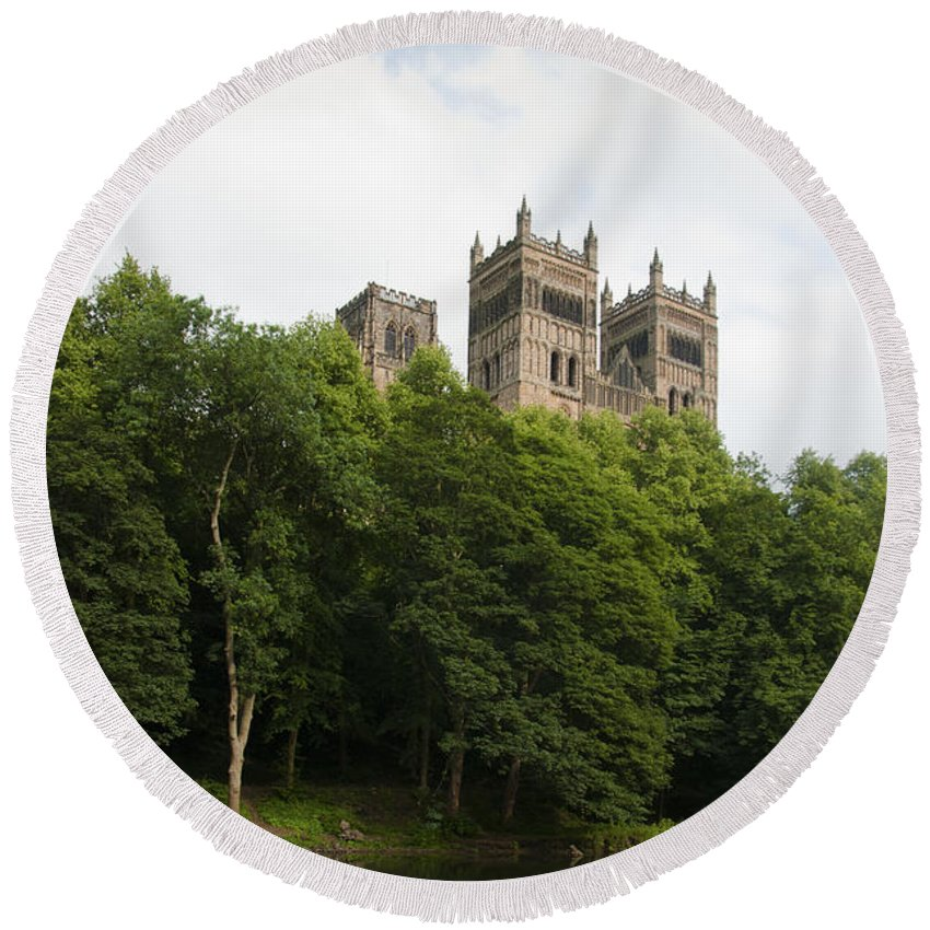 British Round Beach Towel featuring the photograph Durham Cathedral by Andrew Michael