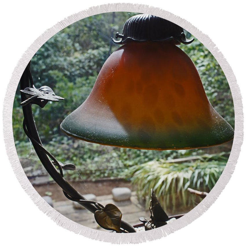 Dust Round Beach Towel featuring the photograph Dusty Old Lamp In Morning Light by Mick Anderson
