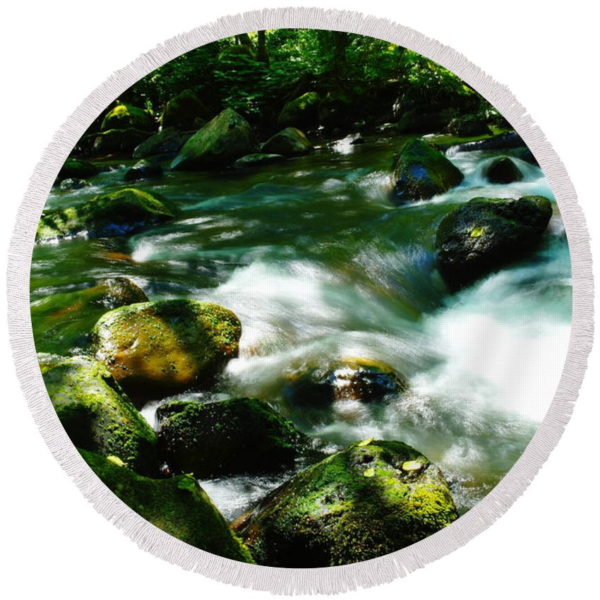 Streams Round Beach Towel featuring the photograph Eagle Creek by Jeff Swan