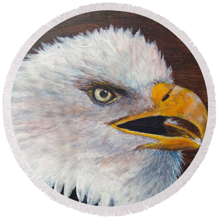 Eagle Round Beach Towel featuring the painting Eagle Study by Dee Carpenter