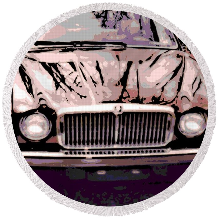 Early Round Beach Towel featuring the photograph Early Jaguar Xj6 by George Pedro