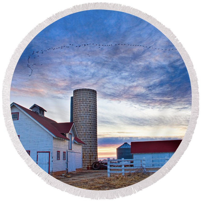 Barns Round Beach Towel featuring the photograph Early Morning On The Farm by James BO Insogna