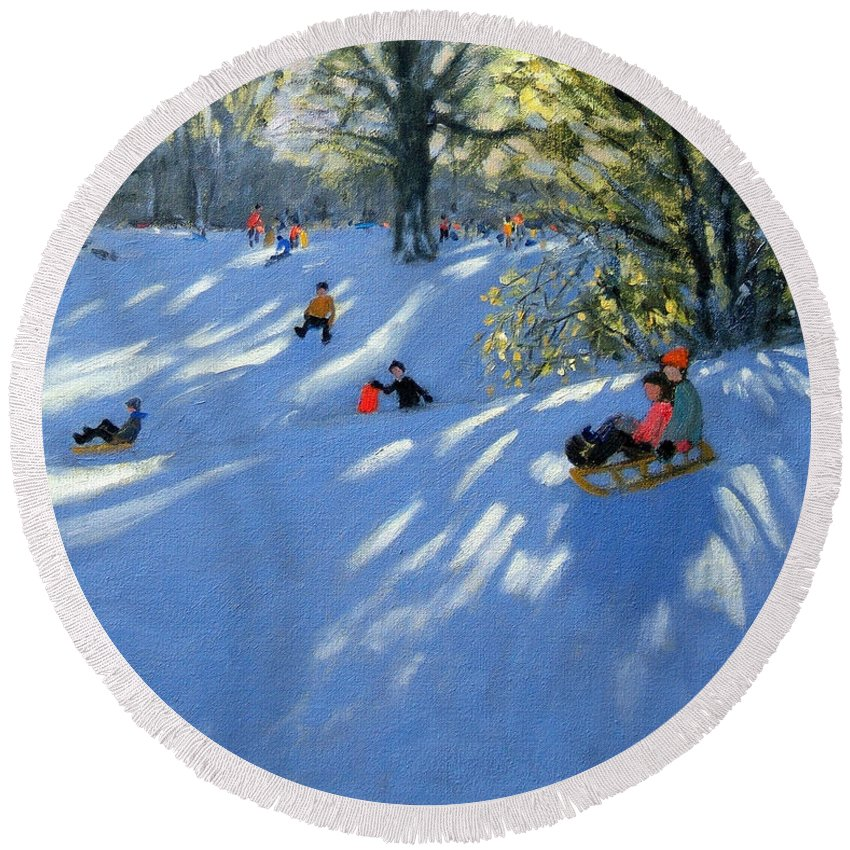 Sledging Round Beach Towel featuring the painting Early Snow by Andrew Macara