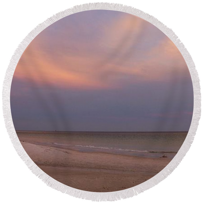 Sunset Round Beach Towel featuring the photograph East - After The Sunset by Sandy Keeton