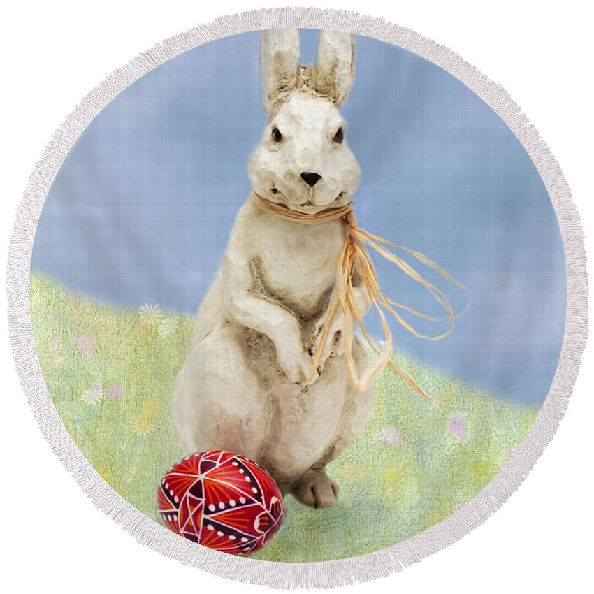 Easter Round Beach Towel featuring the photograph Easter Bunny With A Painted Egg by Louise Heusinkveld