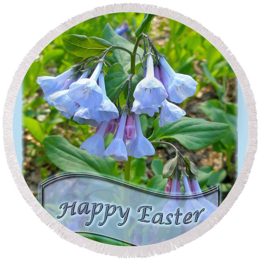 Easter Round Beach Towel featuring the photograph Easter Card - Virginia Bluebells by Mother Nature