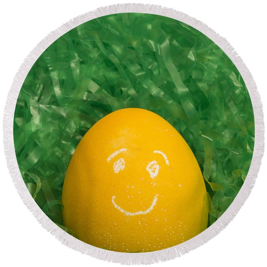 Easter Round Beach Towel featuring the photograph Easter Egg Yellow 3 Smile by John Brueske