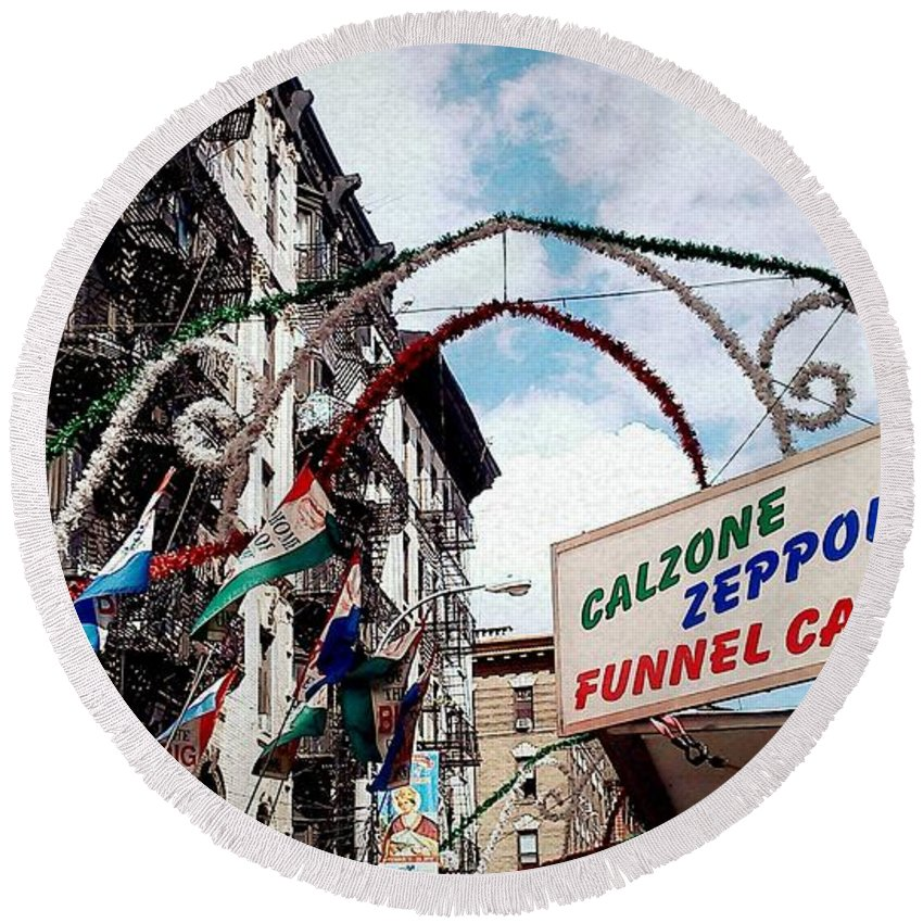 Feast Of San Gennaro Round Beach Towel featuring the photograph Eat Up by Catie Canetti