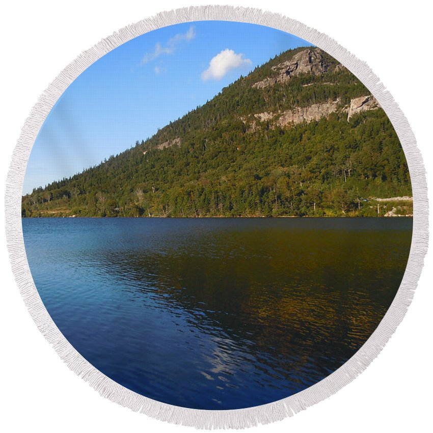 Echo Lake Round Beach Towel featuring the photograph Echo Lake Franconia Notch New Hampshire by Nancy Griswold
