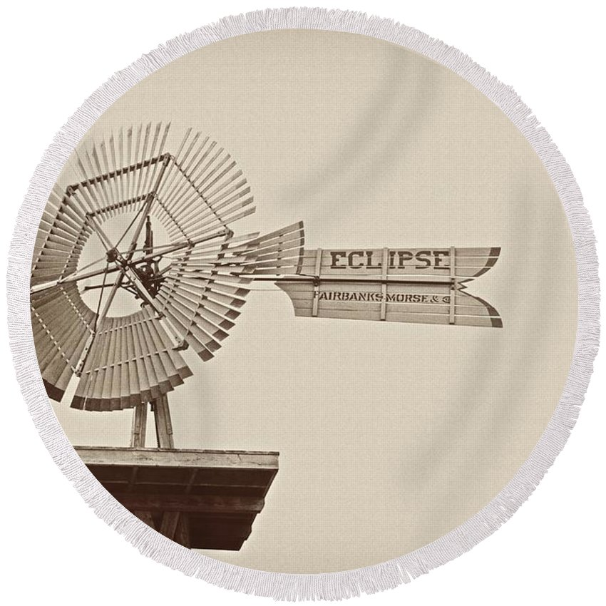 Windmill Round Beach Towel featuring the photograph Eclipse Windmill 3578 by Michael Peychich