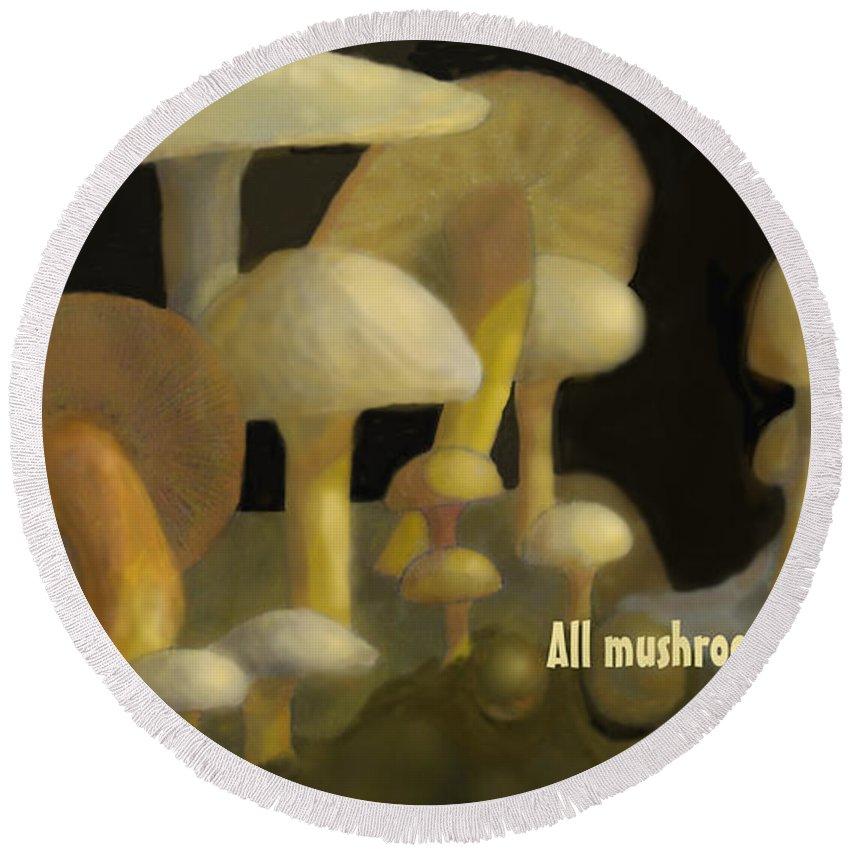 Mushrooms Round Beach Towel featuring the digital art Edible Mushrooms by Ian MacDonald