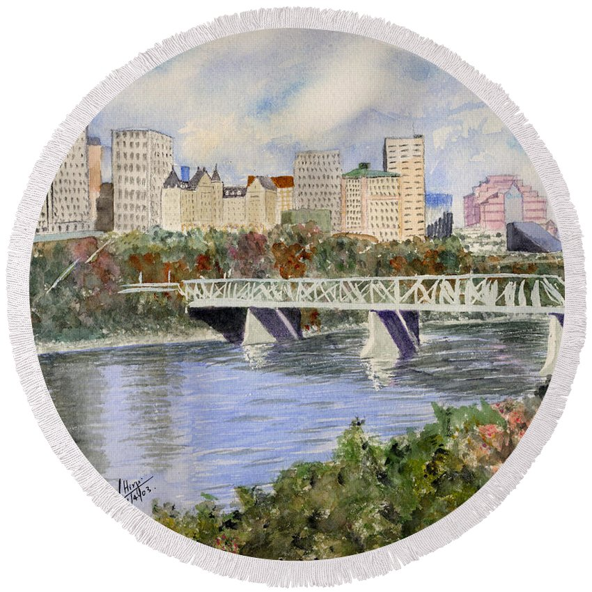 Round Beach Towel featuring the painting Edmonton Skyline by Mohamed Hirji