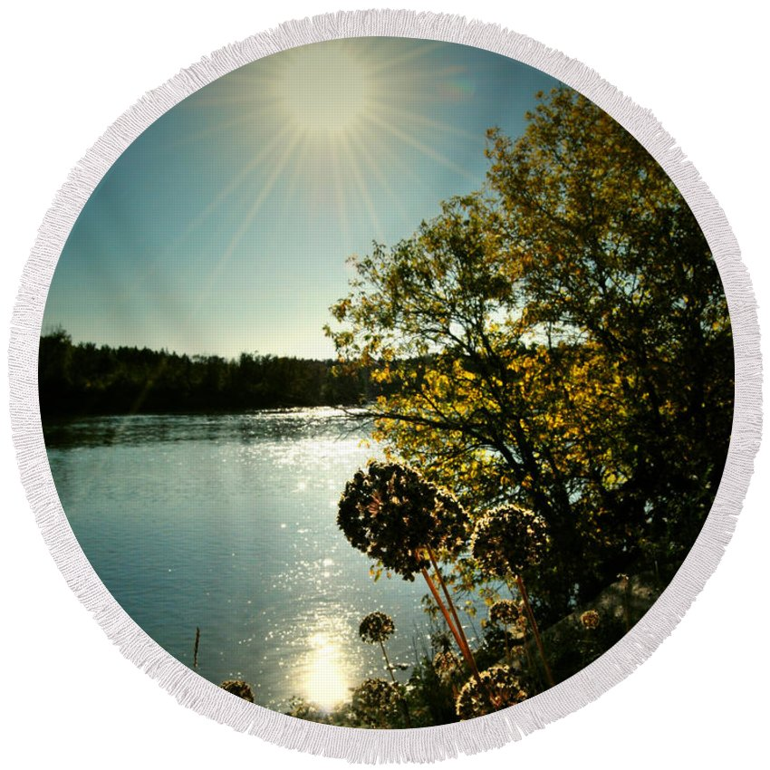 Fall Round Beach Towel featuring the photograph Eds River Valley. by The Artist Project