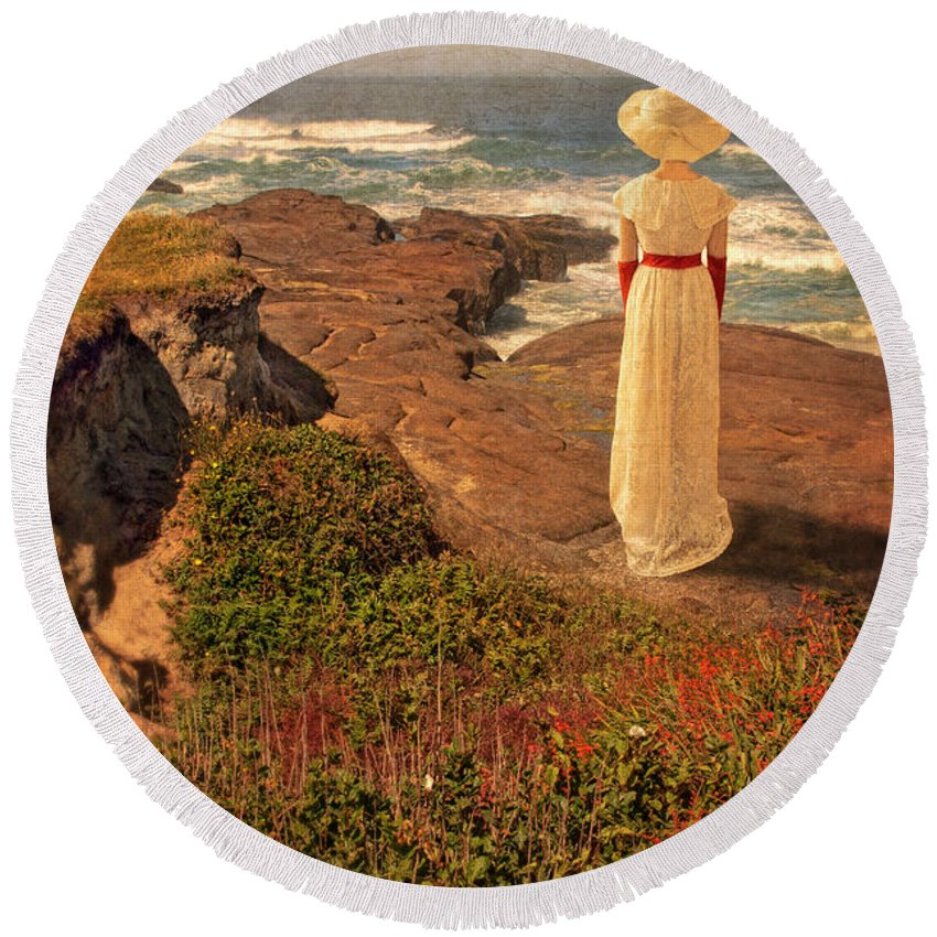 Walking Round Beach Towel featuring the photograph Edwardian Lady By The Sea by Jill Battaglia