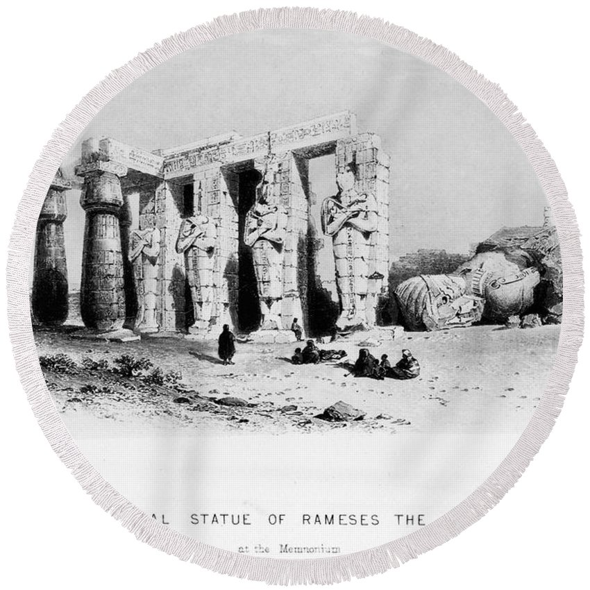 13th Century B.c Round Beach Towel featuring the photograph Egypt: Ramesseum by Granger