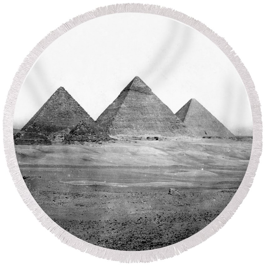 Egypt Round Beach Towel featuring the photograph Egyptian Pyramids - C 1901 by International Images