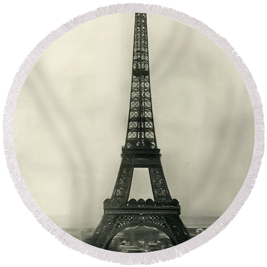 Eiffel Tower 1890 Round Beach Towel featuring the photograph Eiffel Tower 1890 by Bill Cannon