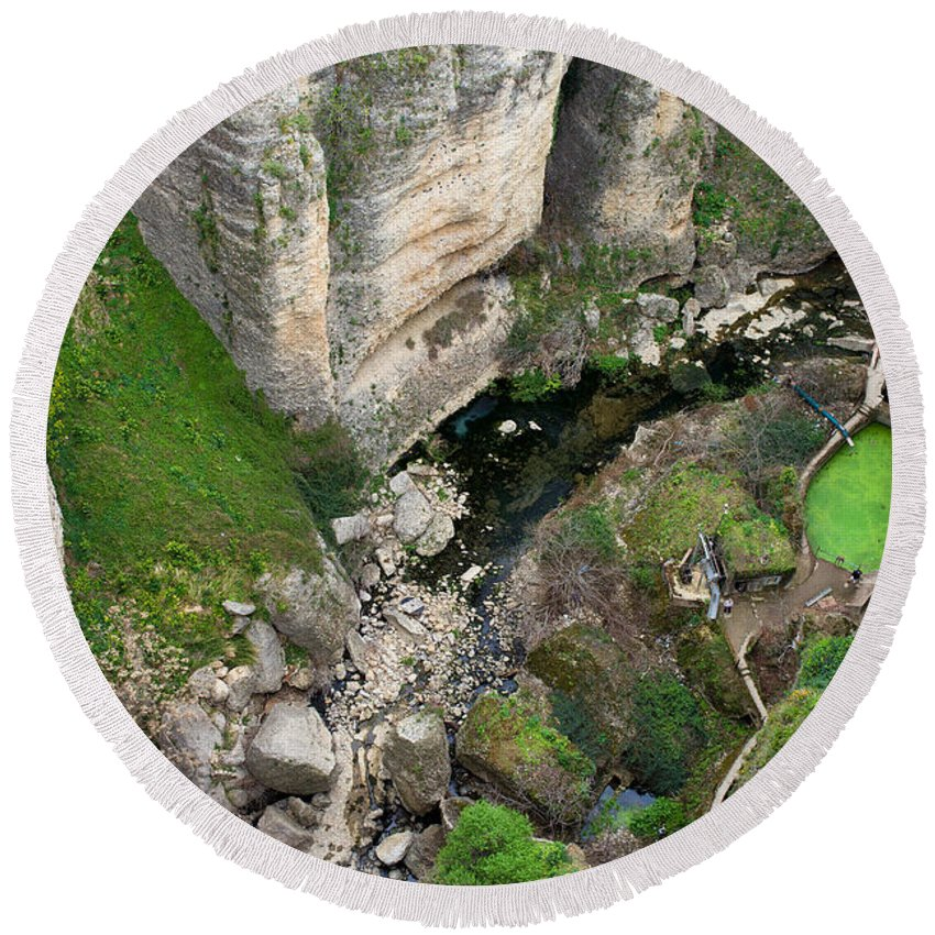 Gorge Round Beach Towel featuring the photograph El Tayo River Gorge In Ronda by Artur Bogacki