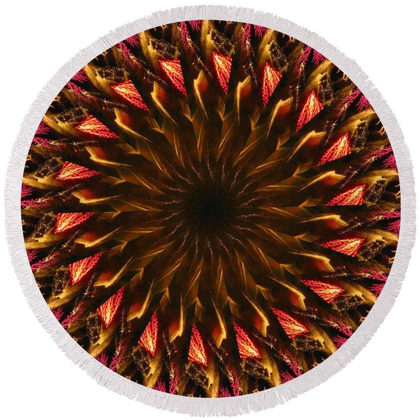 Mandala Round Beach Towel featuring the digital art Electric Mandala 4 by Rhonda Barrett