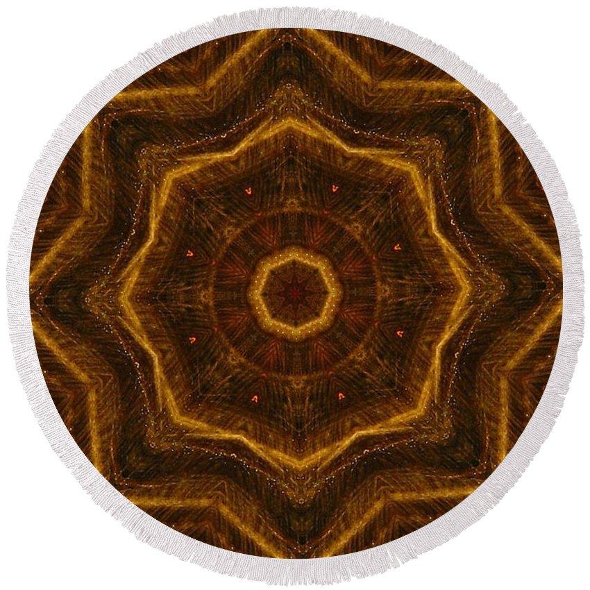 Mandala Round Beach Towel featuring the digital art Electric Mandala 6 by Rhonda Barrett