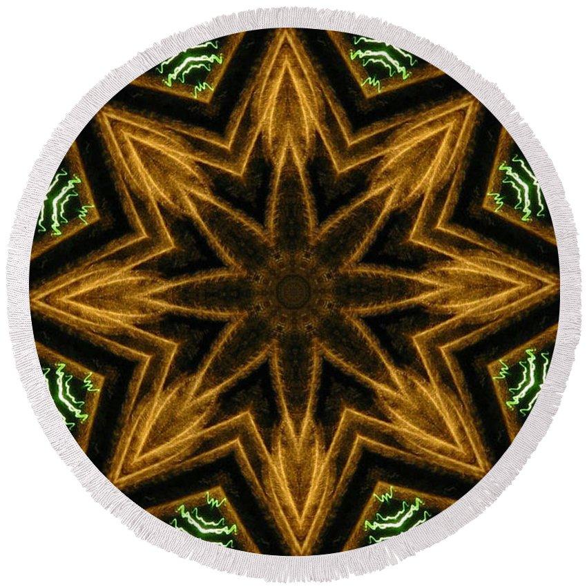 Mandala Round Beach Towel featuring the digital art Electric Mandala 7 by Rhonda Barrett