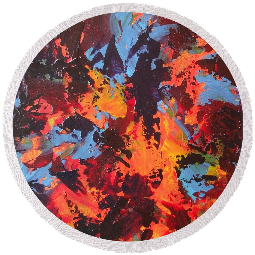 Abstract Round Beach Towel featuring the painting Elephant by Claire Gagnon