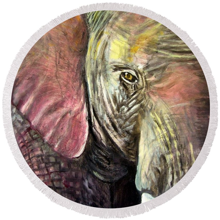 Elephant Round Beach Towel featuring the painting Elephancy by Steve Leibowitz