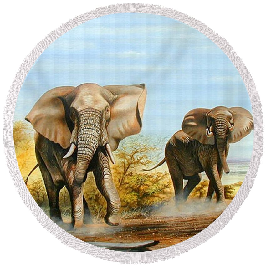 Wildlife Round Beach Towel featuring the painting Elephants Threatening by Francis Njoroge