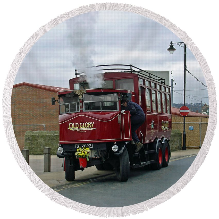 Flowers Round Beach Towel featuring the photograph Elizabeth - Steam Bus At Whitby by Rod Johnson