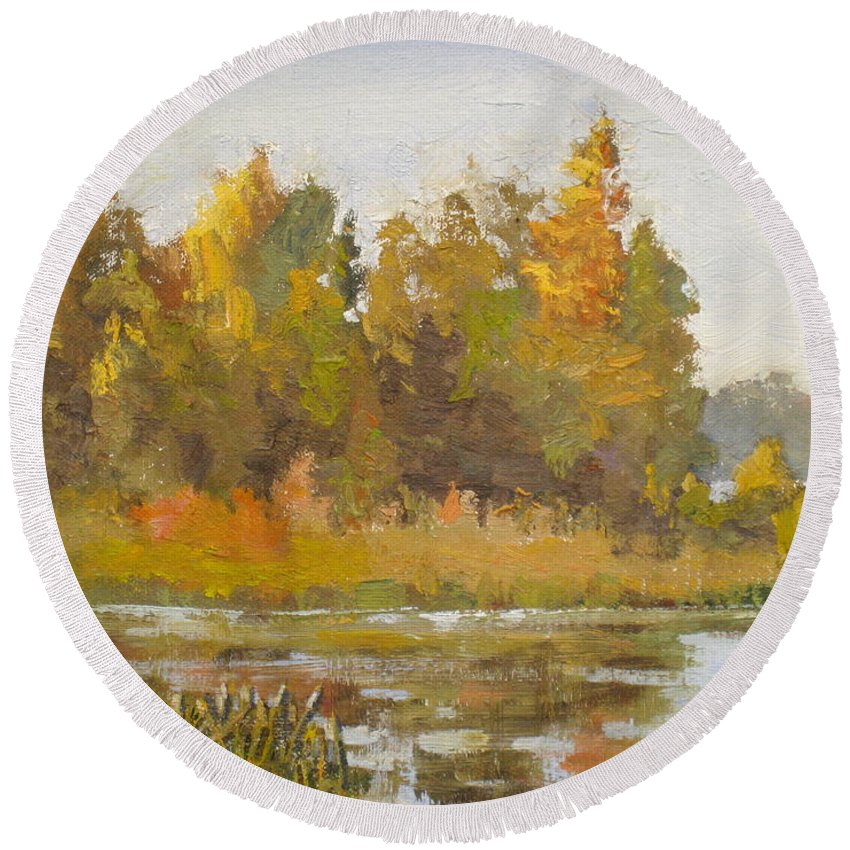 Fall Round Beach Towel featuring the painting Elk Island 5 by Mohamed Hirji