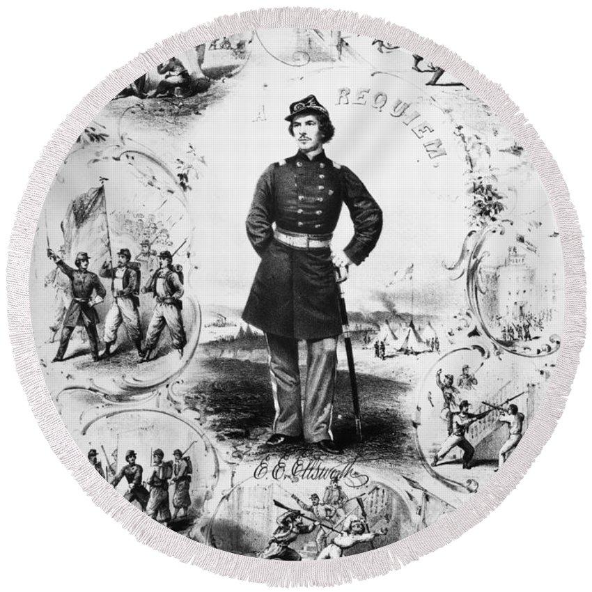 1861 Round Beach Towel featuring the photograph Elmer Ephraim Ellsworth by Granger
