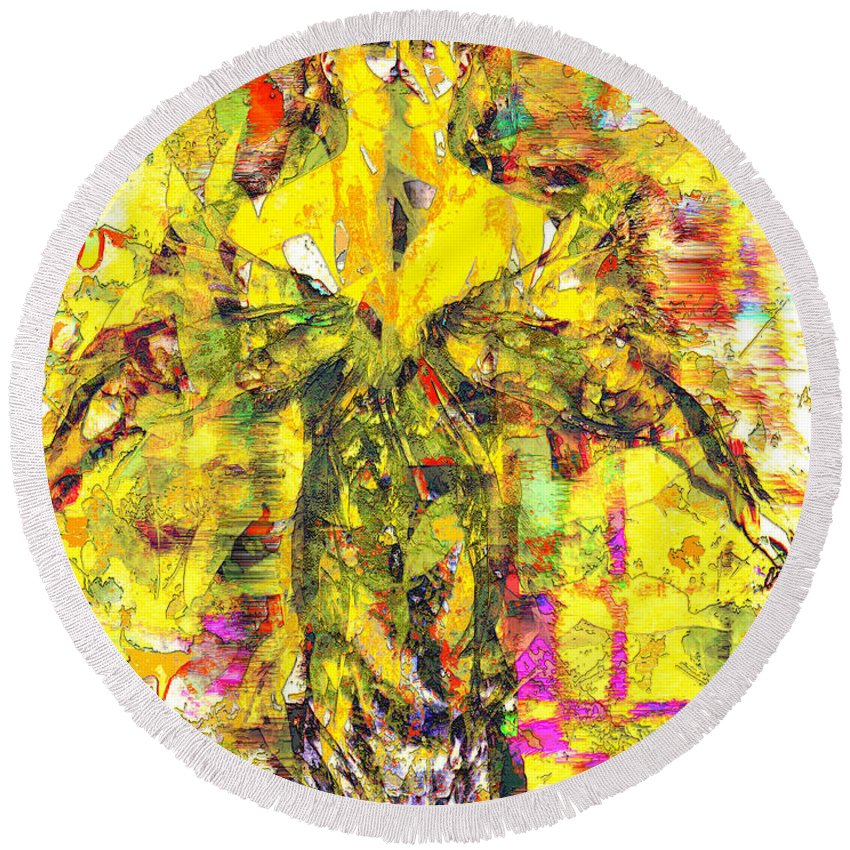 Embrace Of Fall Round Beach Towel featuring the digital art Embrace of Fall by Seth Weaver