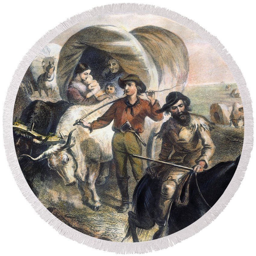 1874 Round Beach Towel featuring the photograph Emigrants To West, 1874 by Granger